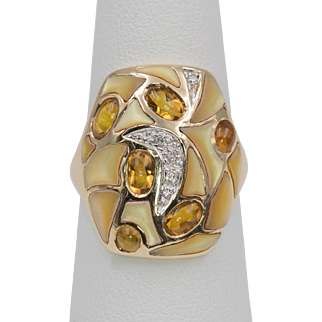 Le Vian | 14K Gold | Diamond, Citrine, & Mosaic Style Mother of Pearl Ring Size 7