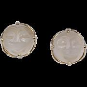 Vintage | Moonstone Man in the Moon Earrings | 10K