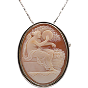 Sappho the Greek Poet | Helmet Shell Cameo | Sterling Silver