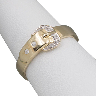 10K Yellow Gold | Diamond and Buckle Ring