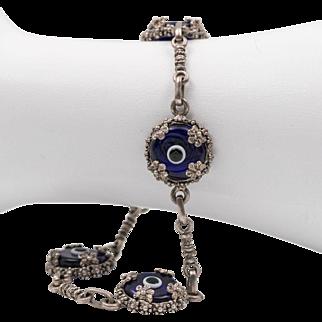 Sterling Silver | Evil Eye Glass Bracelet | 8-1/4 Inches