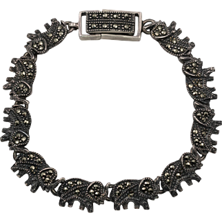 Sterling Silver | Marcasite Elephant Bracelet 6-3/4 - 7-1/8 inches