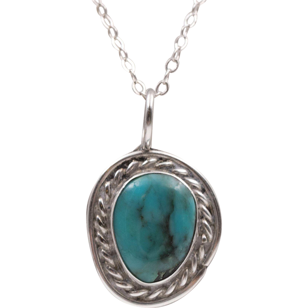 sterling silver turquoise pendant 18 inch sterling
