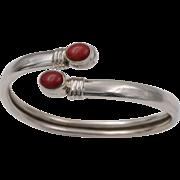 Sterling Silver | Coral Bangle Bracelet | Mediterranean Red