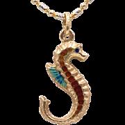 14K Yellow Gold | Enamel Seahorse Pendant/Charm