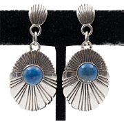 Signed | Navajo | Sterling Silver & Lapis Drop Earrings
