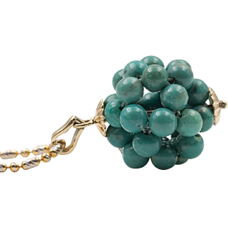 14K Yellow Gold | Natural Green Turquoise Woven Bead Pendant | Upcycled