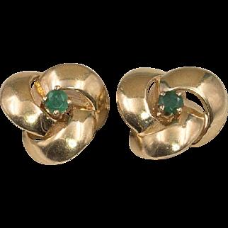 14K Yellow Gold | Emerald Love Knot Earrings