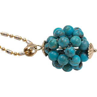 14K Yellow Gold | Natural Blue Turquoise Woven Bead Pendant | Upcycled