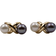 14K Yellow Gold   Black & White   Akoya Saltwater Cultured   Pearl Earrings