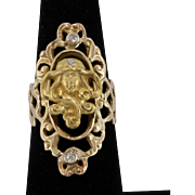 Upcycled | 14K Yellow Gold | Art Nouveau | Figural Diamond Ring