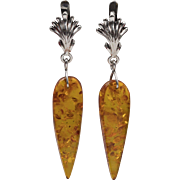 Sterling Silver | Elongated Amber Earrings with Russian Style Lever Backs