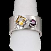 Gentleman's | Citrine & Garnet | Sterling Silver Ring | Size 12