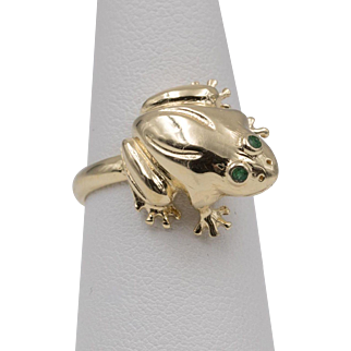 14K YG | Emerald-Eyes | Frog Ring  | Size 6