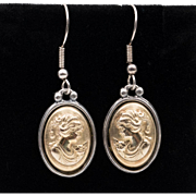 Sterling Silver/Gold Overlay Cameo Earrings