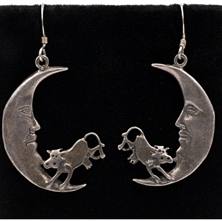 Fabulous | Sterling Silver | The Cow Jumped Over The Moon Earrings