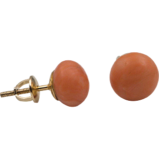 Natural 14K YG | Salmon Coral Thread-Back Earrings