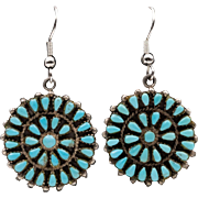 Hand-Made | ZUNI Petit Point | Turquoise Earring