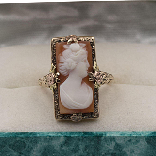 DECO | 14K YG and Rose Gold Cameo Ring | Size 6-1/4
