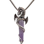 Rare Sterling Silver | Franklin Mint | Dragon & Banded Amethyst Pendant