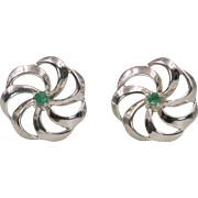 Sterling Silver | Pinwheel Earrings with Emeralds - Red Tag Sale Item