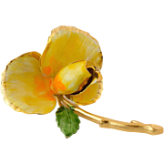 Sunshine Yellow |  Enamel Flower Brooch
