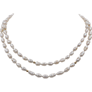 14K YG   28-Inch   Freshwater Baroque Rice Pearl Necklace
