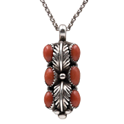 Signed Jeanette Dale Navajo | Mediterranean Red Coral Pendant | Sterling Silver
