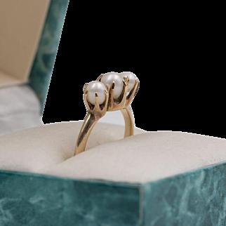 Antique   14K YG   Natural Pearl   Trilogy Ring