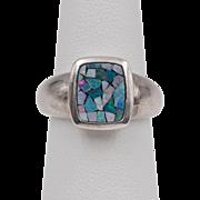 Sterling Silver | Australian Opal Mosaic Ring | Size 6