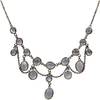 Antique   Moonstone Festoon Necklace