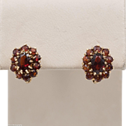 14K YG | Garnet Cluster | Russian Back Earrings