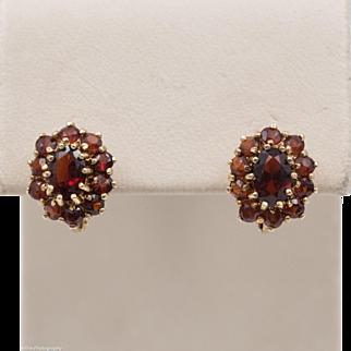 14K YG   Garnet Cluster   Russian Back Earrings