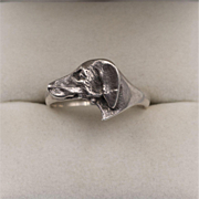 Sterling Silver   Dog Head Ring - Red Tag Sale Item