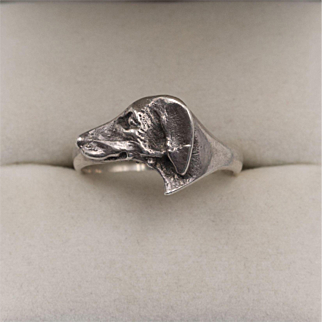 Sterling Silver   Dog Head Ring