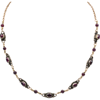 Mixed Metal | Garnet Station Necklace | 15-1/4 Inches