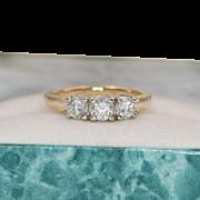 Beautiful | 14K YG | 3-Stone Diamond Ring | Size 6