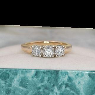 Beautiful   14K YG   3-Stone Diamond Ring   Size 6