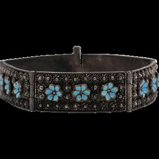 Etruscan-Style   Enamel Bracelet   7-Inches