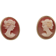 14K Yellow Gold | Carved Cameo Earrings - Red Tag Sale Item