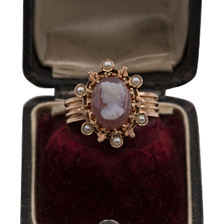 Mid-Victorian   Dated 1878   14K Rose Gold Cameo & Seed Pearl Ring   Size 6