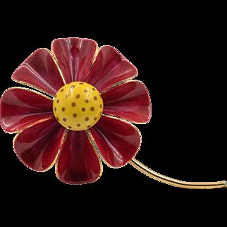 """Original by Robert""   Large Red & Yellow Polka Dot Sun Flower Brooch"