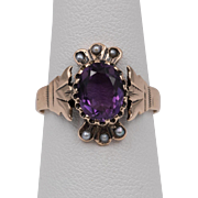Dated 1922/27 | Art Deco | 14K Rose Gold | Amethyst & Seed Pearl Ring  Size 6-1/2
