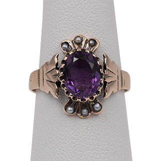 Dated 22/27 | 14K Rose Gold | Amethyst & Seed Pearl Ring  Size 6-1/2