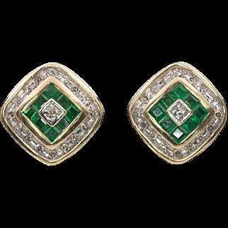 Vintage 14K YG | Alwand Vahan | Deco Inspired Emerald & Diamond Earrings