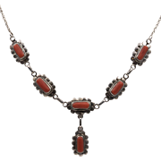 """Sterling Silver   Natural Salmon Coral Drop Necklace   18 1/2"""""""