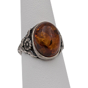 Sterling Silver | Super Nice | Amber Cabochon Ring | Size 7