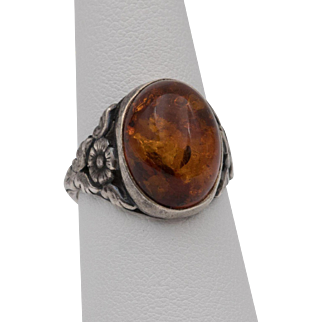 Sterling Silver | Amber Cabochon Ring | Size 7