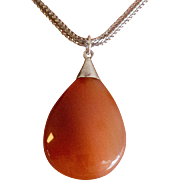 Sterling Silver | Upcycled Banded Carnelian Pendant