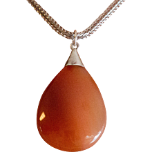 Sterling Silver | Upcycled Banded Carnelian Pendant - Red Tag Sale Item